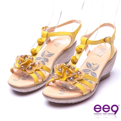 【ee9】花漾年華-靚亮鑽飾立體花朵防水台楔型涼鞋*黃色