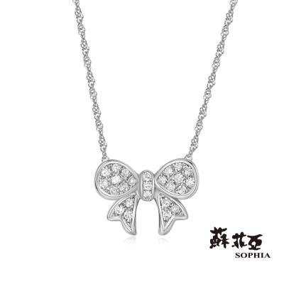蘇菲亞SOPHIA 鑽鍊 - 可愛蝴蝶結鑽石項鍊(共兩色)