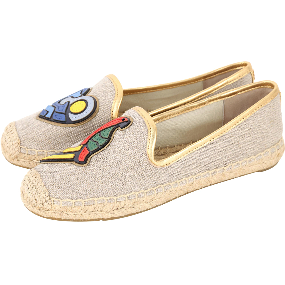 TORY BURCH Parrot Mismatched彩繪圖騰麻編休閒鞋(灰色)