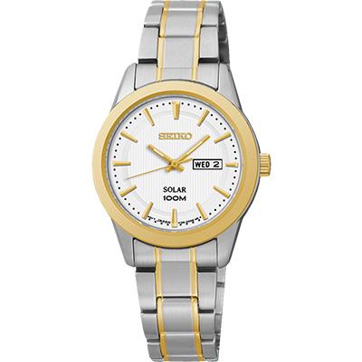 SEIKO CS 都會時尚太陽能女錶(SUT162P)-銀x雙色版/28mm