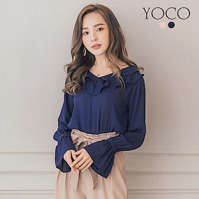 東京著衣-yoco 浪漫迷人法式甜美荷葉領雪紡上衣-S.M.L(共二色)
