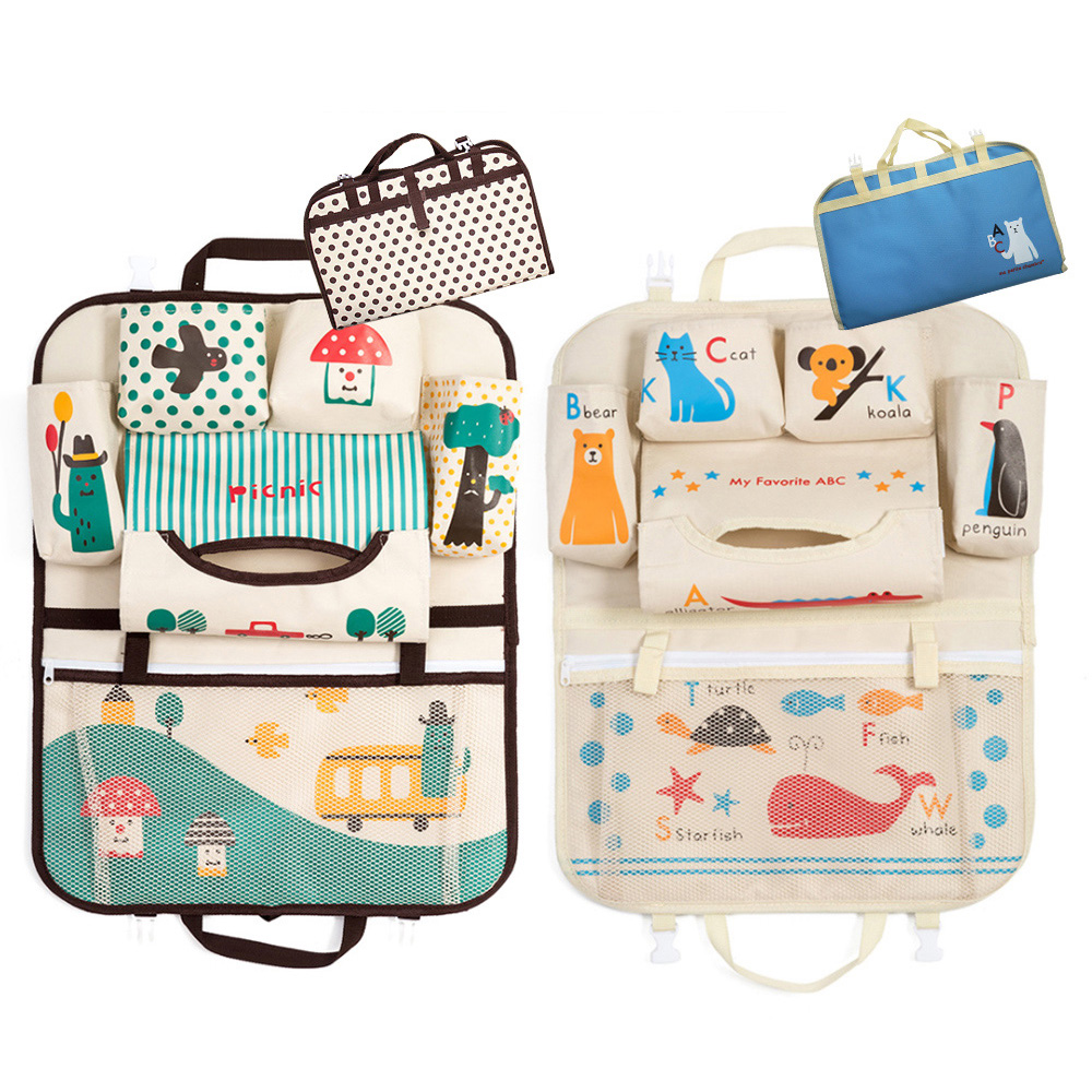 韓版卡通 汽車椅背置物袋 折疊掛袋 收納袋