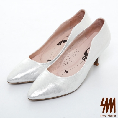 SM-台灣製真皮系列-素面閃亮壓紋波浪跟鞋-銀色