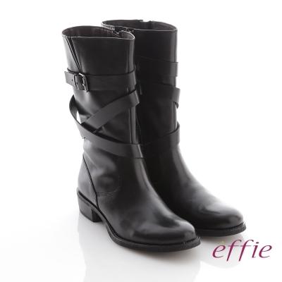 effie 城市漫遊 全真皮交叉皮帶釦飾長靴 黑