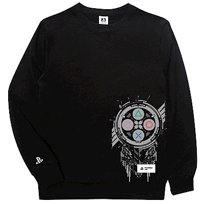 PlayStation 圖騰紋章休閒長袖T恤 黑