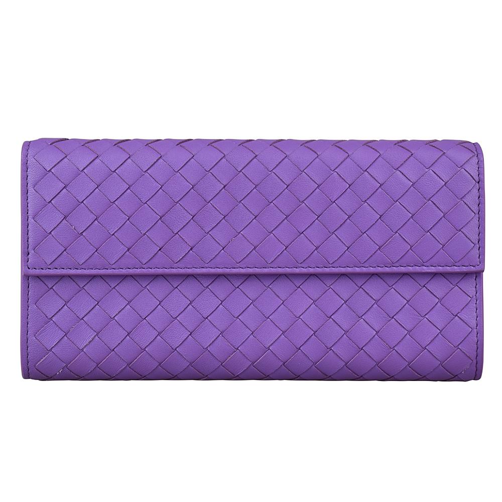 BV BOTTEGA VENETA INTRECCIATO編織小羊皮扣式拉鍊長夾紫