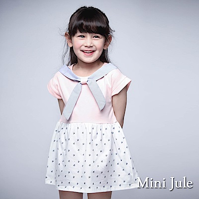Mini Jule 童裝-洋裝 帆船印花條紋綁帶連袖洋裝(粉)