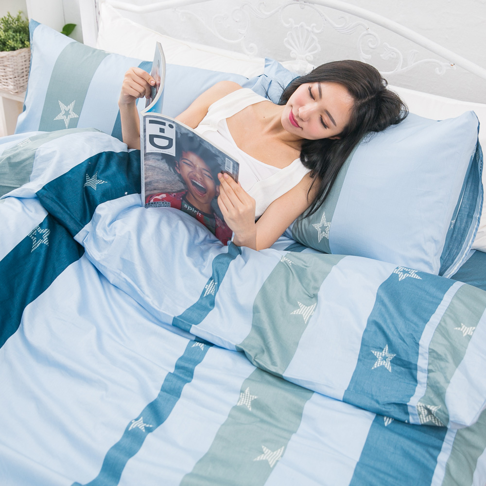 eyah宜雅 台灣製100%頂級精梳棉新式兩用被雙人床包被套五件組 你是天上最美的一顆星