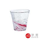 日本ADERIA津輕 漩渦玻璃燒酌杯260ml-紅