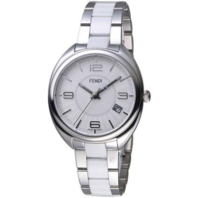芬迪 FENDI Momento放射紋飾腕錶-銀x白/35mm