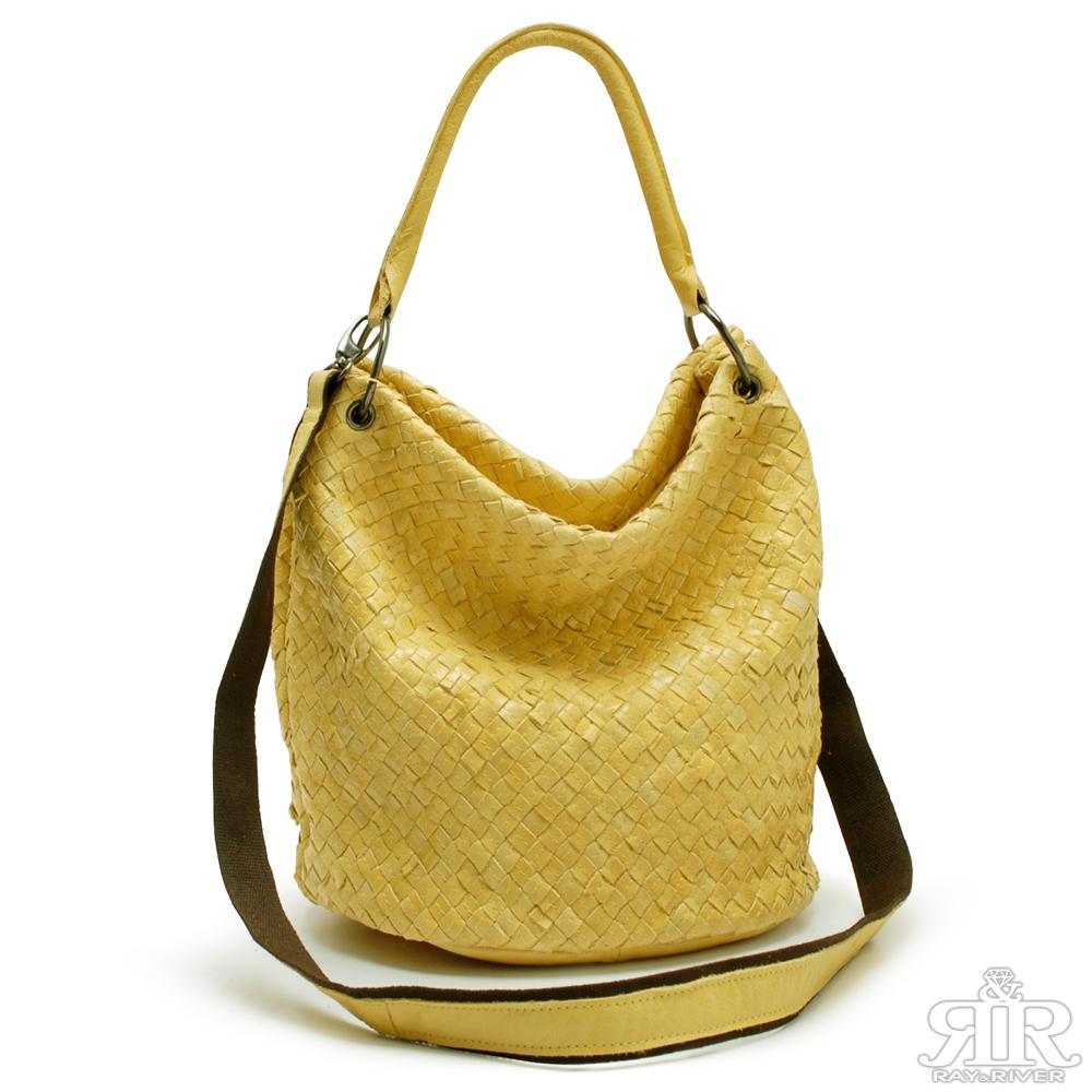 【2R】裸麥編織GG手製牛皮圓桶包(輕甜黃)