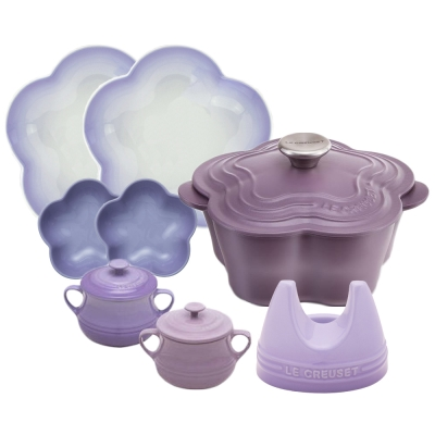 LE-CREUSET-山茶花鐵鍋-20cm-水晶紫-鋼頭-瓷器組合