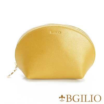 義大利BGilio-珠光Nappa軟牛皮優雅貝殼零錢包-金屬黃1969.301A-13