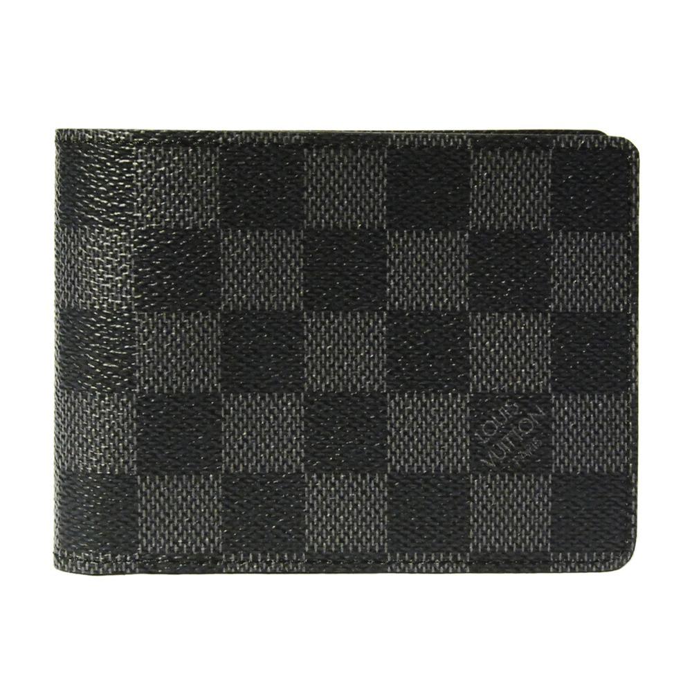 LV N62663 棋盤格MULTIPLE雙折簡約短夾(灰黑)