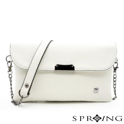 SPRING-簡約生活皮革兩用包-米白