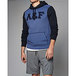 A&F 經典刺繡文字時尚撞色連帽T恤-藍色 AF Abercrombie