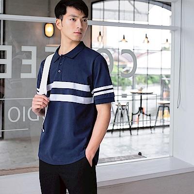 簡約橫條紋配色造型短袖POLO衫-OB嚴選
