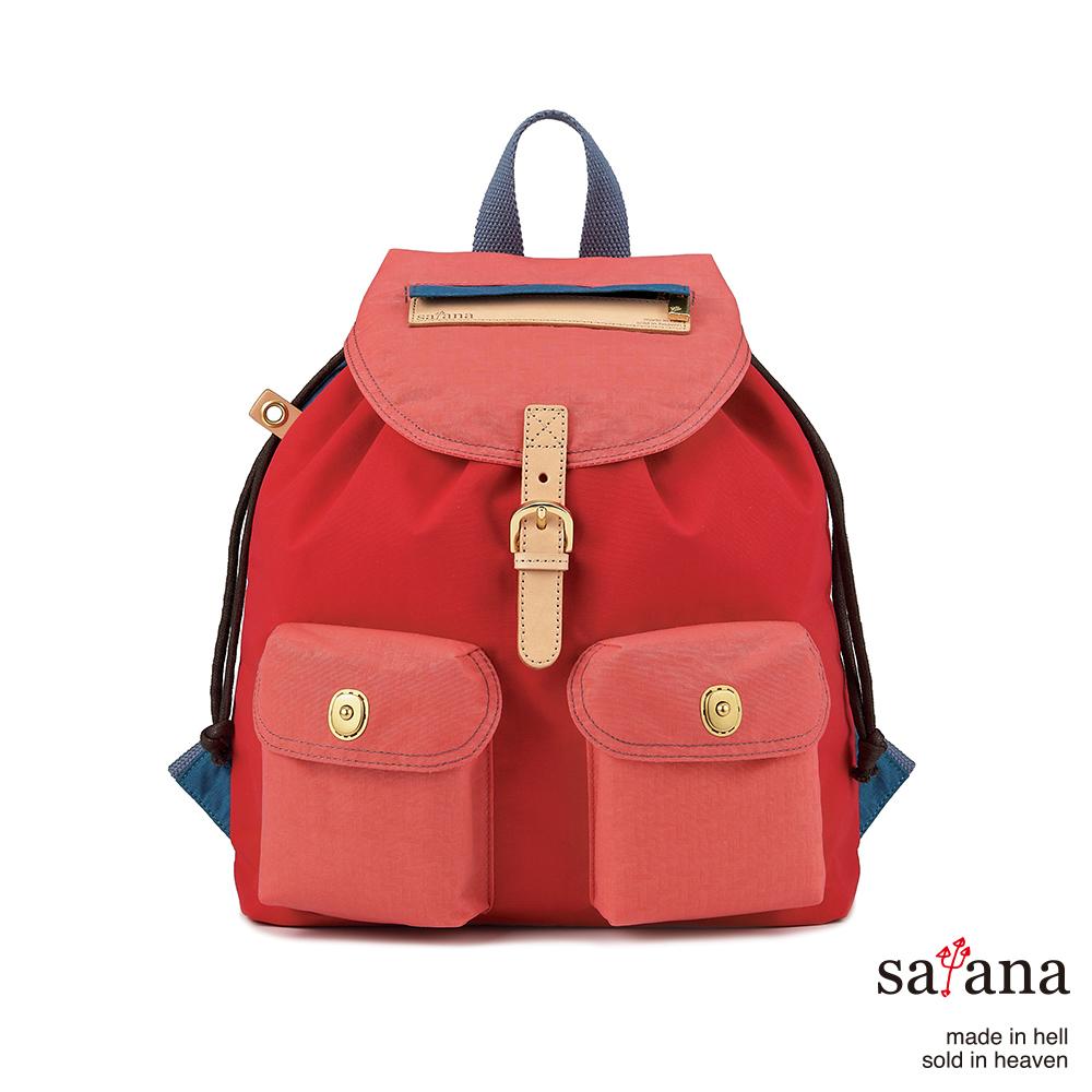 satana - 小休閒束口後背包 - 紅藍混色
