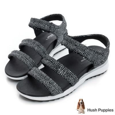 Hush Puppies IVANIA 時尚輕量運動涼鞋-黑白色