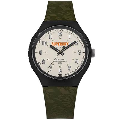Superdry極度乾燥扶桑花時尚手錶-米白X綠/43mm