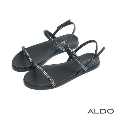 ALDO-原色鏤空一字切面方鑽金屬釦帶涼鞋-尊爵黑色
