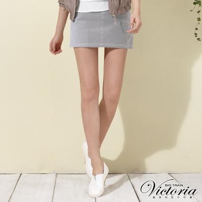 Victoria 細條後腰剪接短裙-女-黑白