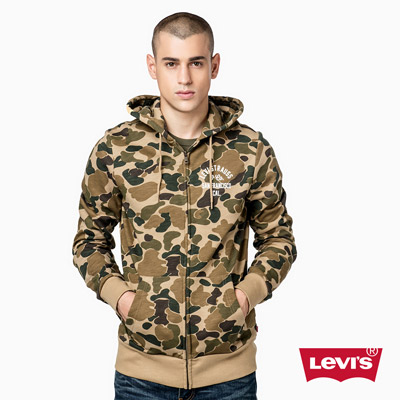 男款時尚刷毛-連帽外套-迷彩-Levis