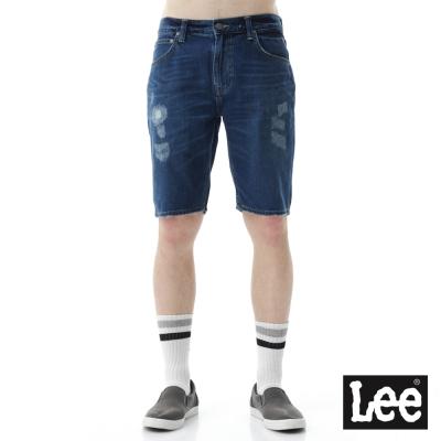 Lee 牛仔貓鬚抓痕短褲/RG-男款-深藍