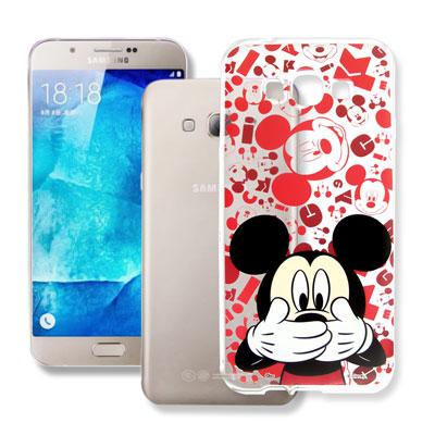 迪士尼 Samsung Galaxy A8 大頭透明手機軟殼(摀嘴米奇)