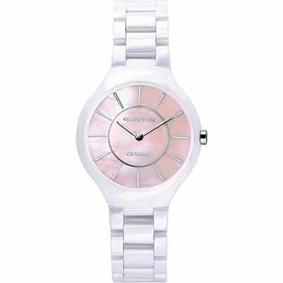 RELAX TIME RT33 嶄新系列陶瓷腕錶-粉貝x白/32mm