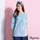 Begonia 寬領透膚網紗布蕾絲上衣(共二色)