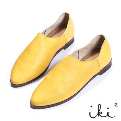 iki2 x A c chi chi 真皮舒適親膚尖頭平底鞋-芥黃