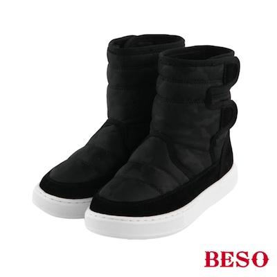 BESO 勁酷率性 鋪棉迷彩吸震防滑童靴~黑