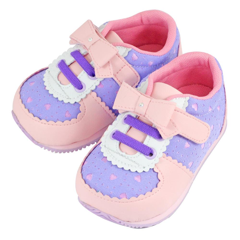 Swan天鵝童鞋-甜美小圓邊愛心布機能鞋1498-粉