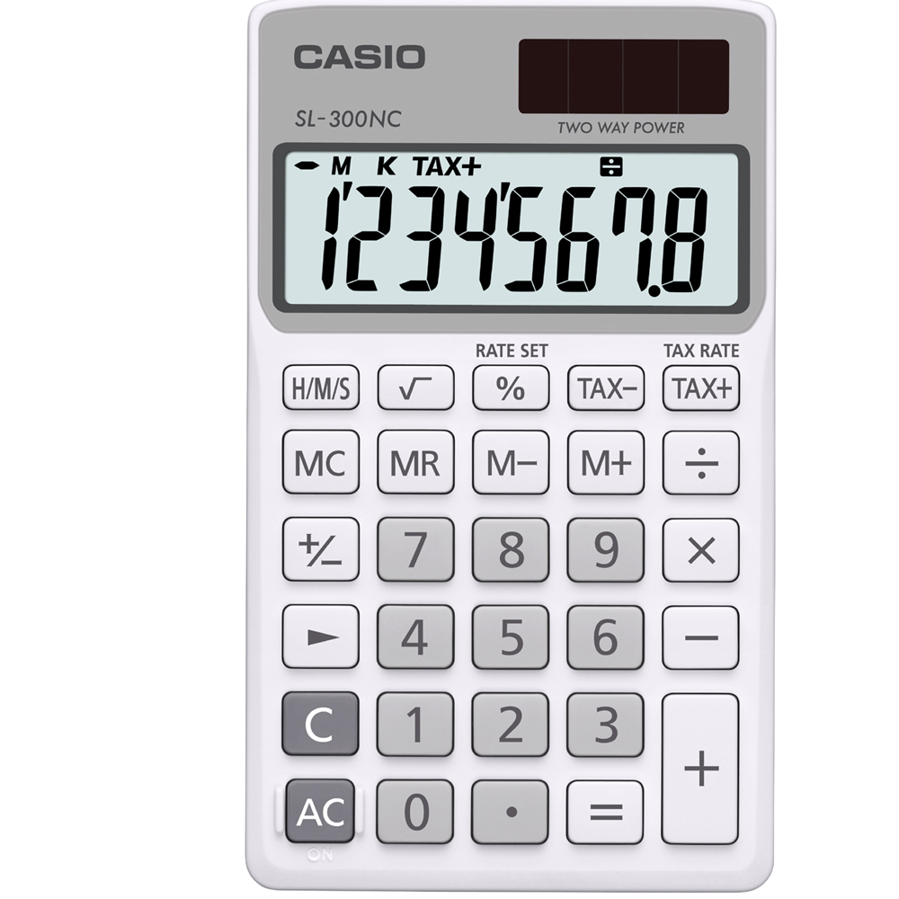 CASIO 8位數商務時尚輕巧攜帶型計算機(SL-300NC-WE)白