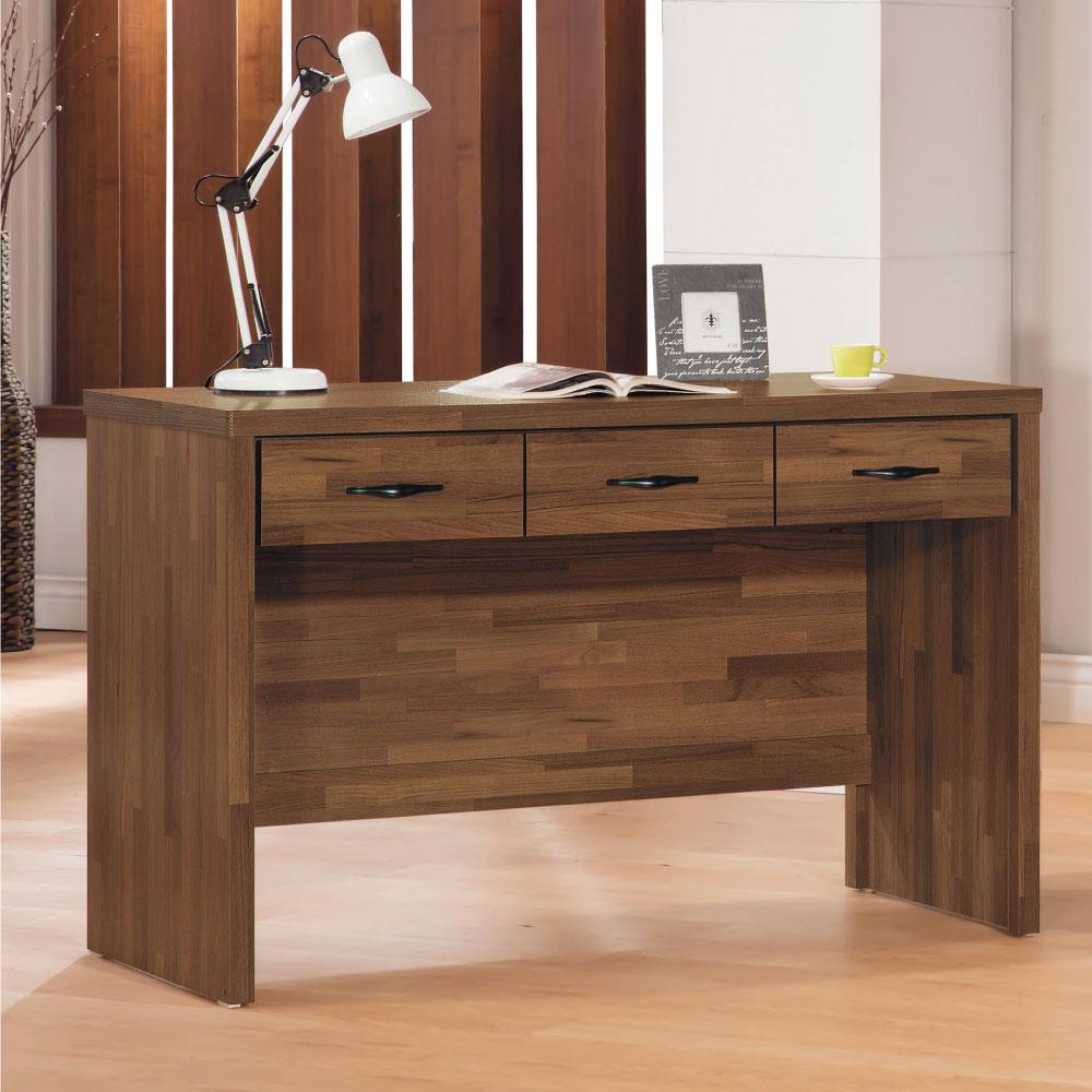 品家居 北歐4尺木紋三抽書桌-120x56x79cm-免組