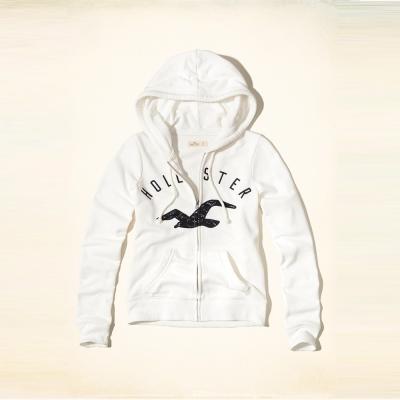 Hollister 經典文字大海鷗蕾絲設計連帽外套(女)-白色 HCO