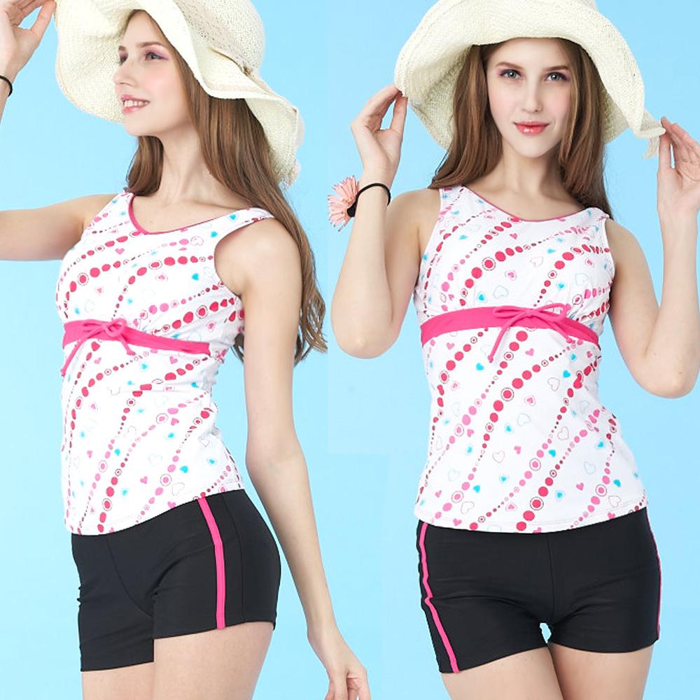 二件式泳裝 V領高腰背心短褲款 (粉色系M-L) TiNyHouSe