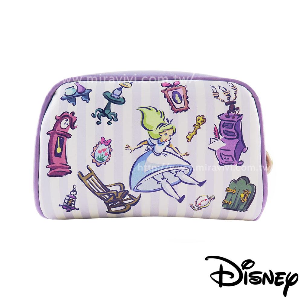 Disney迪士尼愛麗絲夢遊仙境方型皮革化妝包萬用包-愛麗絲魔幻世界