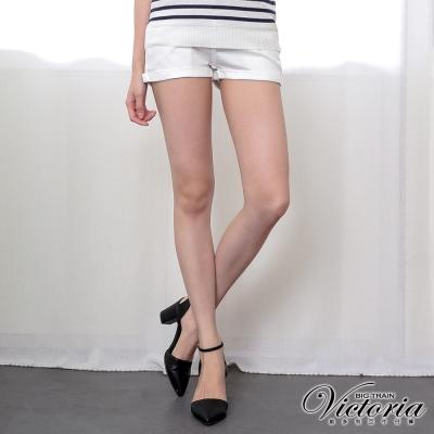 Victoria 低腰簡約繡花反摺短褲-女-白