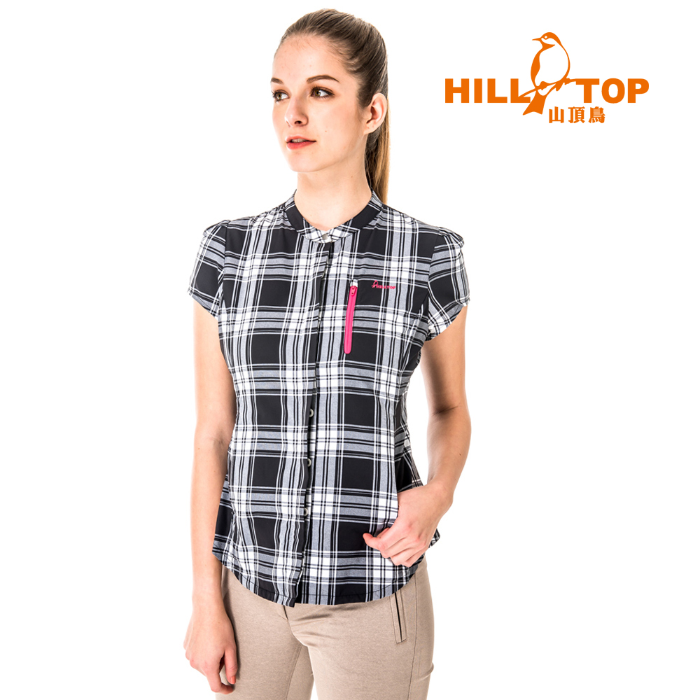 【hilltop山頂鳥】女款吸濕排汗抗UV短袖襯衫S06F58-黑底白格