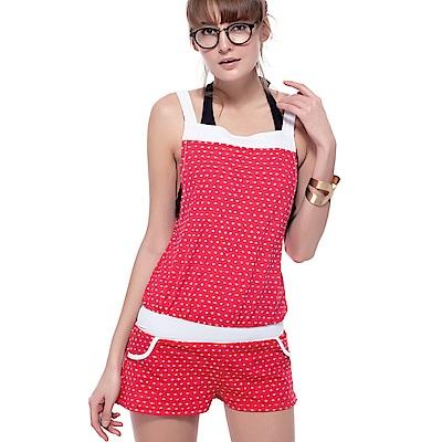 沙兒斯 泳裝 紅罩衫三件式比基尼女泳裝