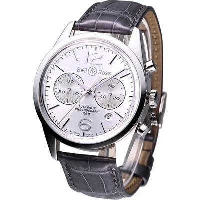 Bell & Ross 空戰菁英 飛行自動計時機械腕錶-銀白/42mm
