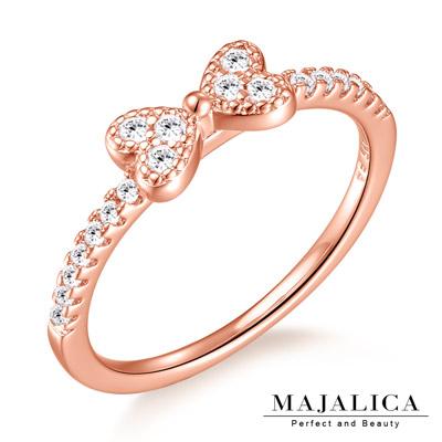 Majalica純銀戒指 蝴蝶結戒指尾戒半圈鑲鑽-共3色