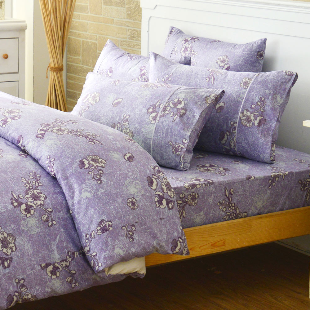 LAMINA 雪國之戀-紫-精梳棉二件式床包組(單人)
