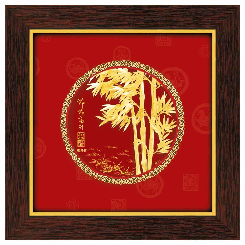 鹿港窯-立體金箔畫-節節高升(圓形系列21x21cm)
