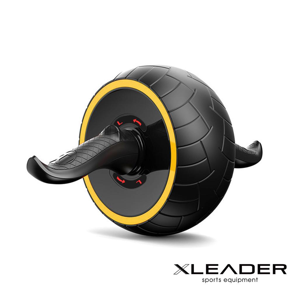 Leader X 自動回彈 耐磨迴力健腹輪 健腹器 滾輪 附跪墊 黃色