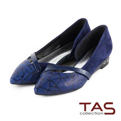 TAS-斜帶曲線幾何壓紋側挖空尖頭鞋-深寶藍