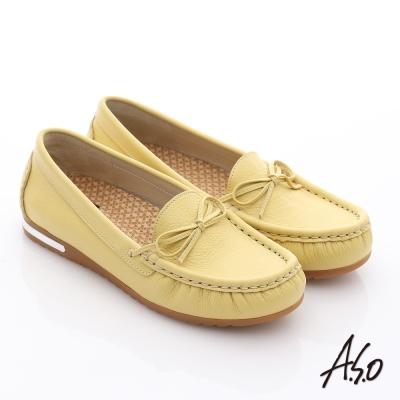 A.S.O 縫線耐走 全牛皮細帶蝴蝶平底鞋 淺黃