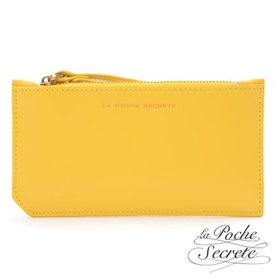 La Poche Secrete真皮 簡約真皮實用卡夾零錢手拿包-亮麗黃